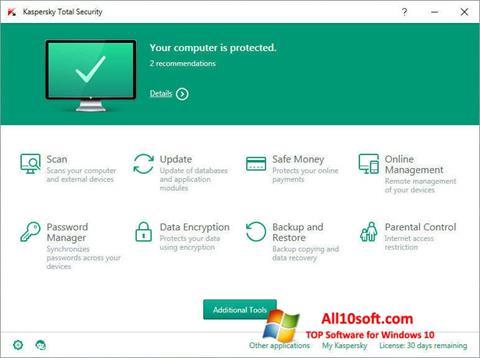 Snimak zaslona Kaspersky Total Security Windows 10
