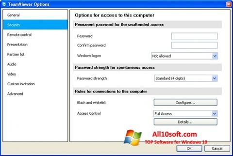 Snimak zaslona TeamViewer Windows 10