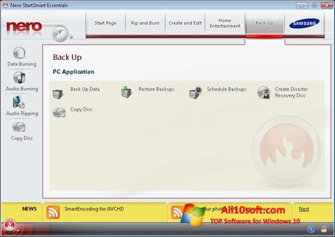 Snimak zaslona Nero Windows 10