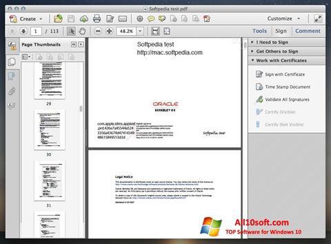 Snimak zaslona Adobe Acrobat Windows 10