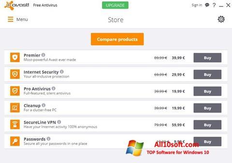 Snimak zaslona Avast Free Antivirus Windows 10