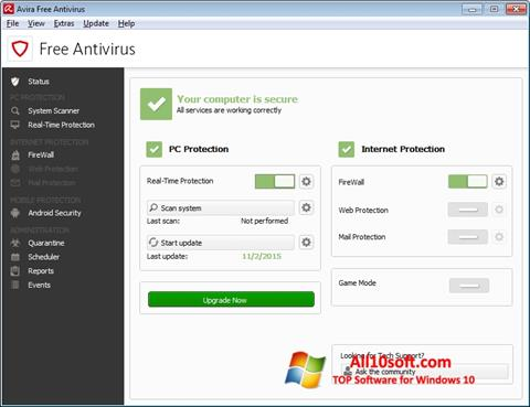 Snimak zaslona Avira Free Antivirus Windows 10