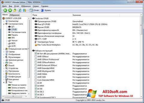 Snimak zaslona EVEREST Windows 10