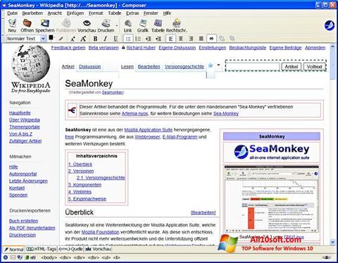 Snimak zaslona SeaMonkey Windows 10