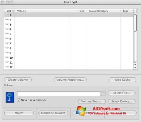 Snimak zaslona TrueCrypt Windows 10