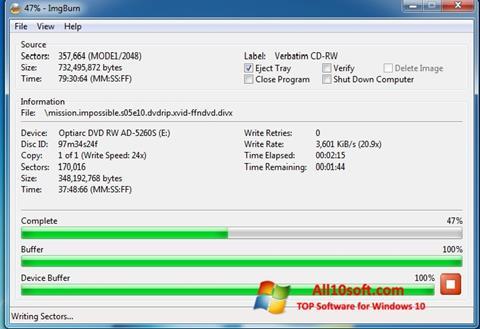Snimak zaslona ImgBurn Windows 10