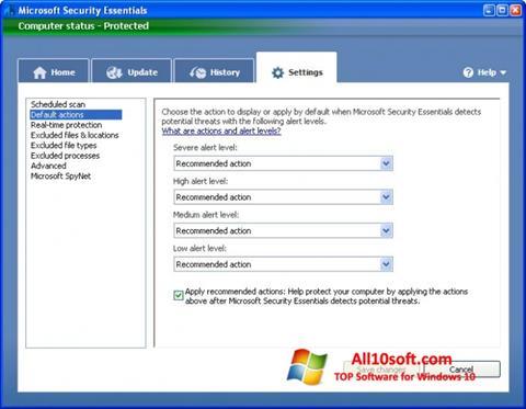 Snimak zaslona Microsoft Security Essentials Windows 10